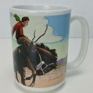 Wyoming COWBOY coffee mug large bronco range